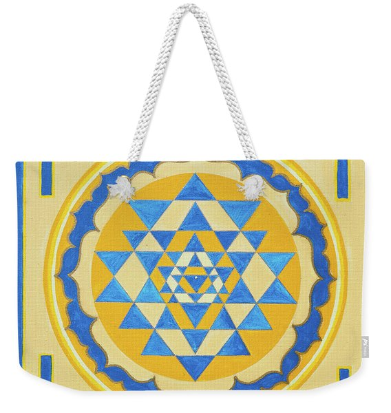 Shri Yantra For Meditation Painted Weekender Tote Bag