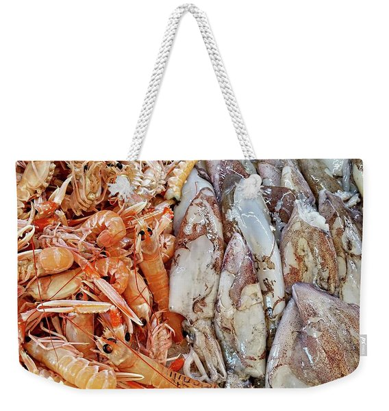 Shrimp And Squid - Port Santo Stefano, Italy Weekender Tote Bag