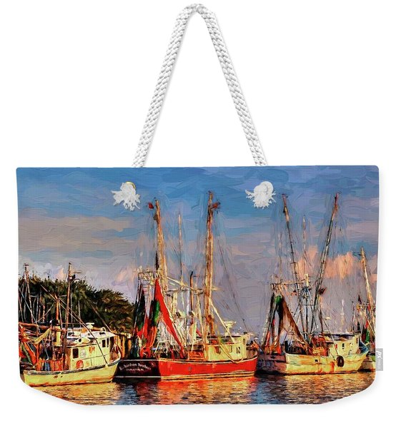 Shrimp Boats Shem Creek In Mt. Pleasant  South Carolina Sunset Weekender Tote Bag