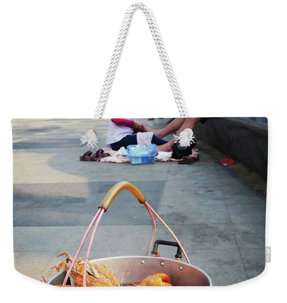 Weekender Tote Bag featuring the photograph Shrimping And Crabbing On The by Mr Photojimsf