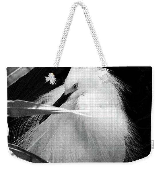 Shy Snowy Egret Weekender Tote Bag