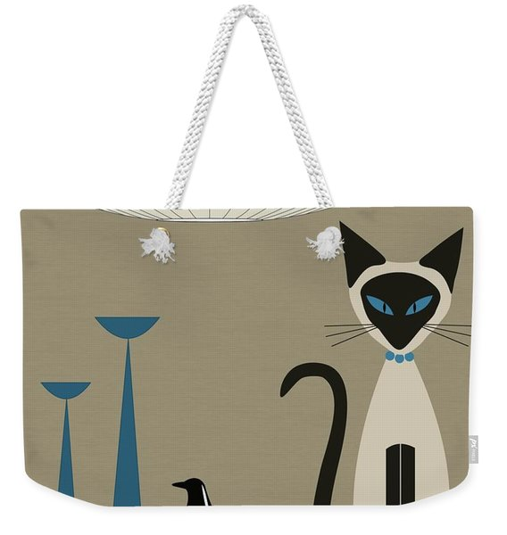Siamese Cat With Eames House Bird Weekender Tote Bag