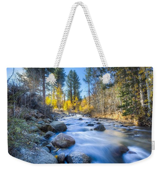 Sierra Mountain Stream Weekender Tote Bag