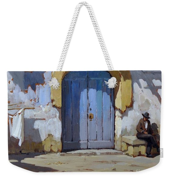 Weekender Tote Bag featuring the painting Siesta Time In Naples by Rosario Piazza
