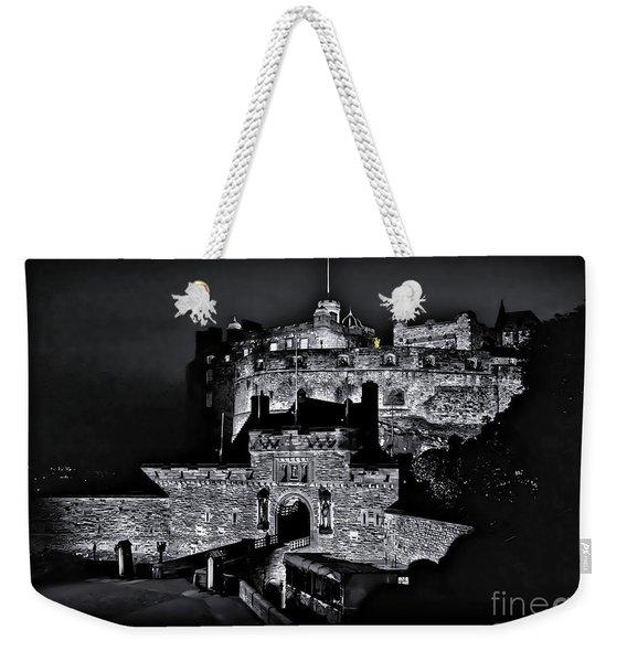 Sights In Scotland - Castle Bagpiper Weekender Tote Bag