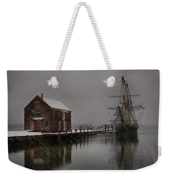 Weekender Tote Bag featuring the photograph Silently The Snow Falls. by Jeff Folger