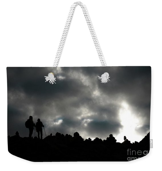 Silhouette Of Man On The Pass Himalayas Yantra.lv Weekender Tote Bag