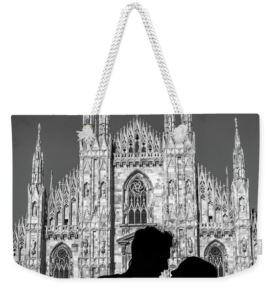 Silhouette Of Young Couple Kissing In Front Of Milan's Duomo Cathedral Weekender Tote Bag