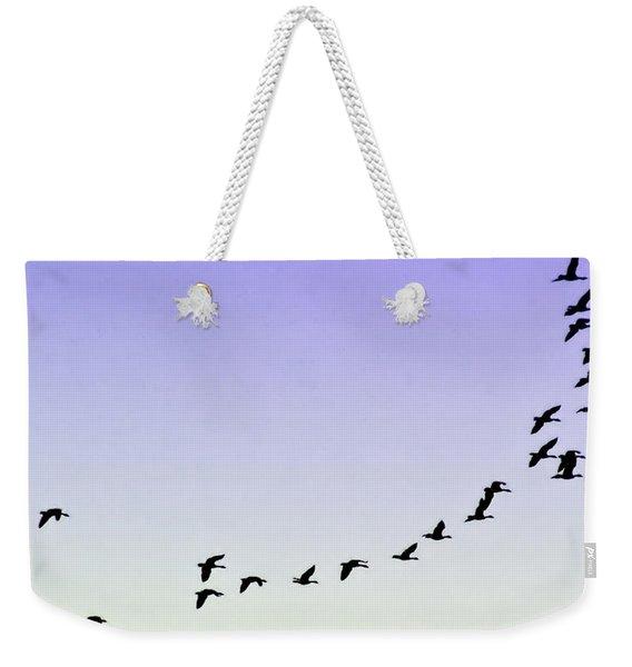 Silhouetted Flight Weekender Tote Bag