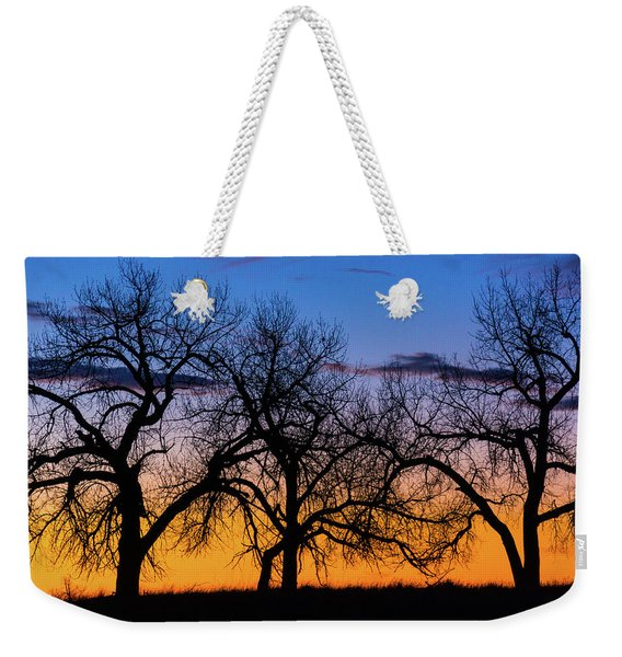 Silhouettes Of A Spring Sunrise Weekender Tote Bag