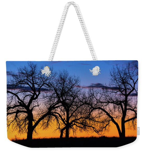 Weekender Tote Bag featuring the photograph Silhouettes Of A Spring Sunrise by John De Bord