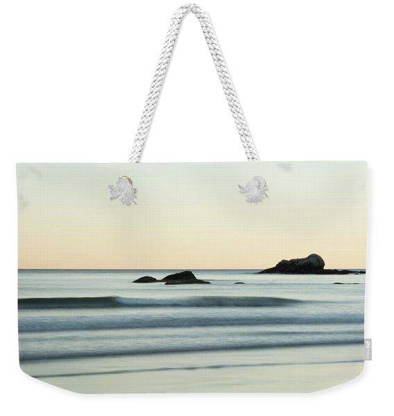 Weekender Tote Bag featuring the photograph Silky Water And Rocks On The Rhode Island Coast by Nancy De Flon