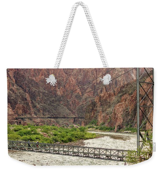 Silver And Black Bridges Over The Colorado, Grand Canyon Weekender Tote Bag