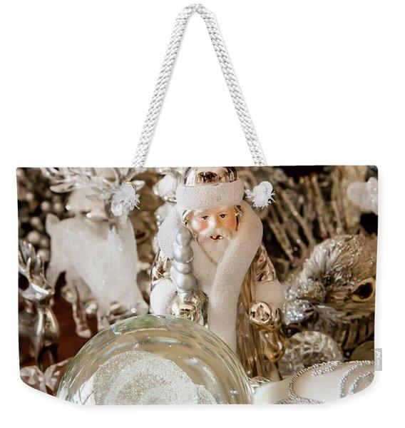 Silver Christmas Weekender Tote Bag