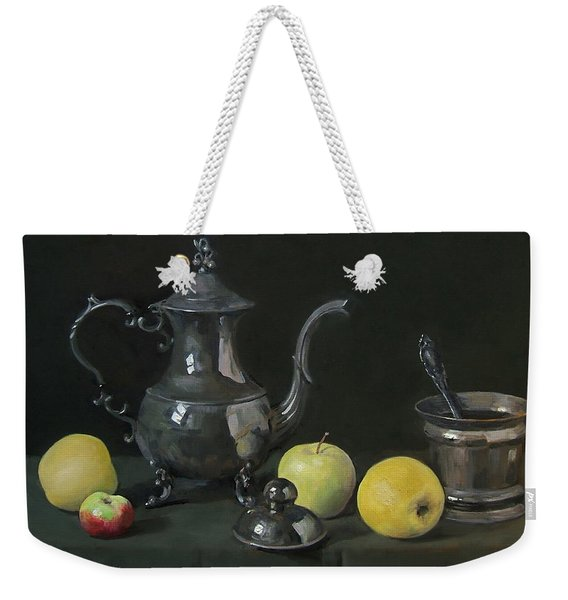 Silver Coffeepot, Silver Jar With Lid  And Apples Weekender Tote Bag