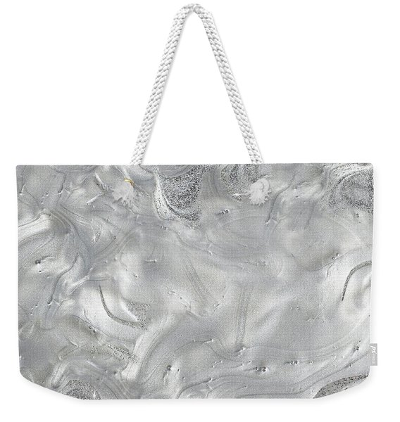 Silver Gray Abstract Minimalist Painting  Weekender Tote Bag