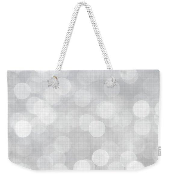Silver Grey Bokeh Abstract Weekender Tote Bag