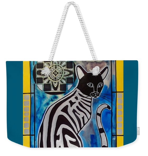 Silver Tabby With Mandala - Cat Art By Dora Hathazi Mendes Weekender Tote Bag