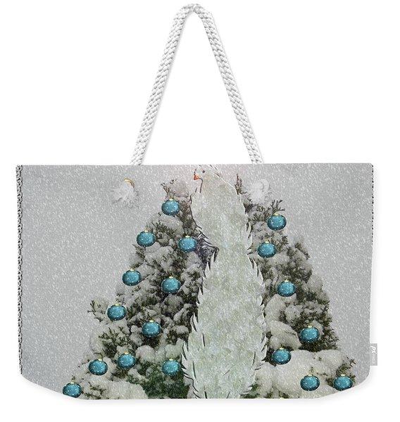 Silver Winter Bird Weekender Tote Bag