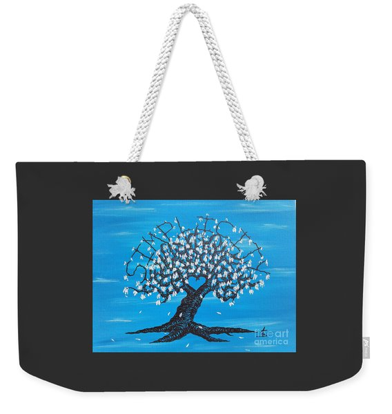 Weekender Tote Bag featuring the drawing Simplicity Love Tree by Aaron Bombalicki