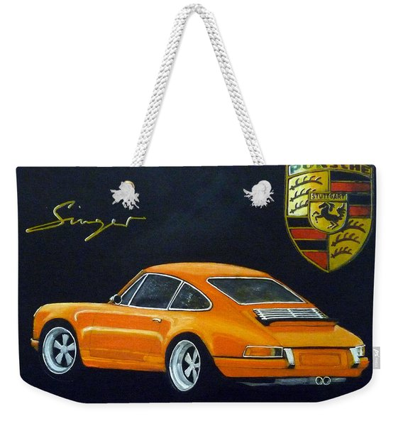 Weekender Tote Bag featuring the painting Singer Porsche by Richard Le Page