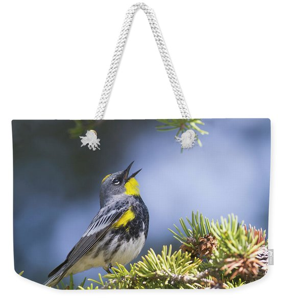 Singing Audubon's Warbler Weekender Tote Bag