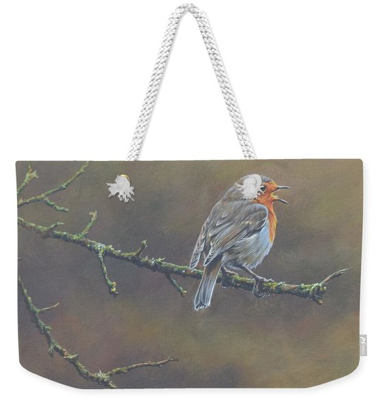Weekender Tote Bag featuring the painting Singing Robin by Alan M Hunt