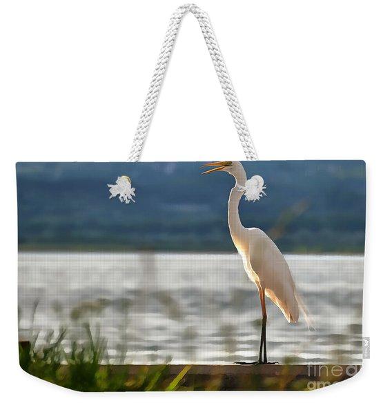 Singing White Egret Weekender Tote Bag