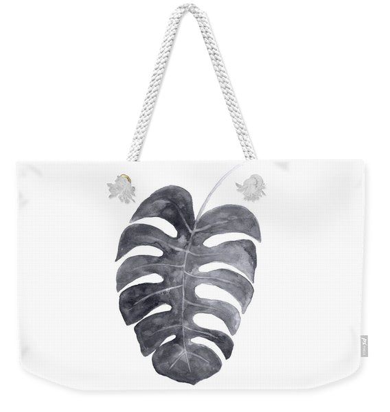 Single Charcoal Monstera Leaf Weekender Tote Bag