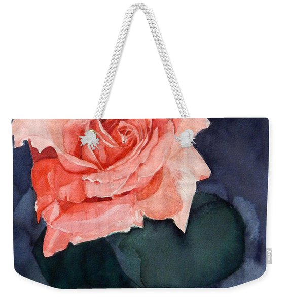 Watercolor Of A Magic Bright Single Red Rose Weekender Tote Bag