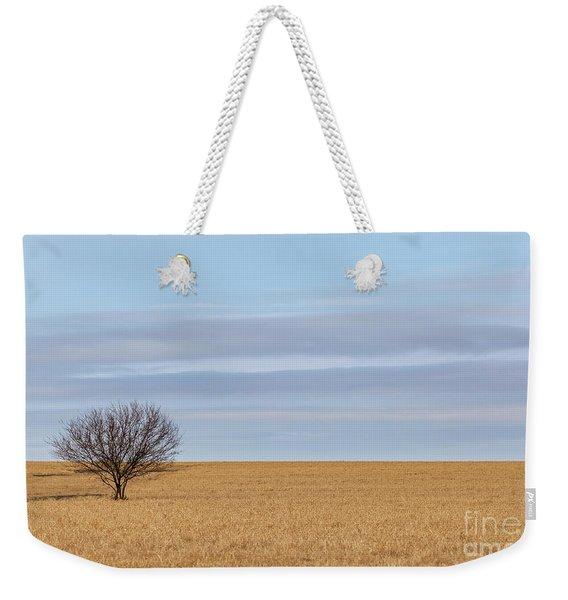 Single Tree In Large Field With Cloudy Skies Weekender Tote Bag