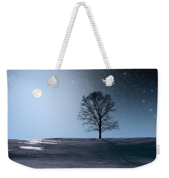 Single Tree In Moonlight Weekender Tote Bag