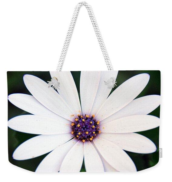 Single White Daisy Macro Weekender Tote Bag