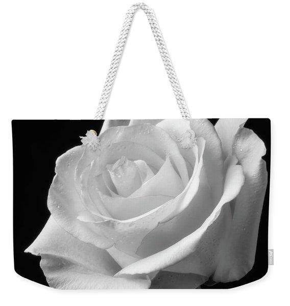 Single White Rose Black And White Weekender Tote Bag