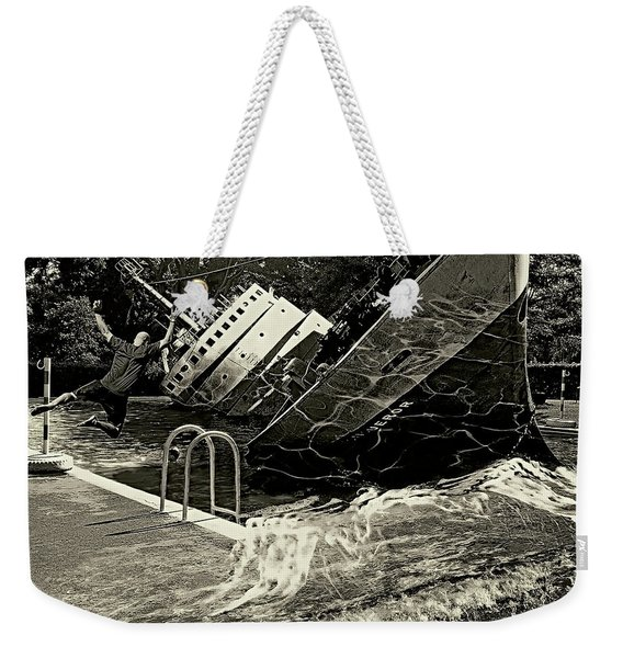 Sinking Into The Pool Black And White Weekender Tote Bag