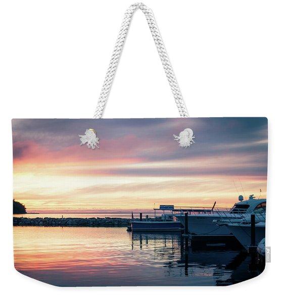 Sister Bay Marina At Sunset Weekender Tote Bag