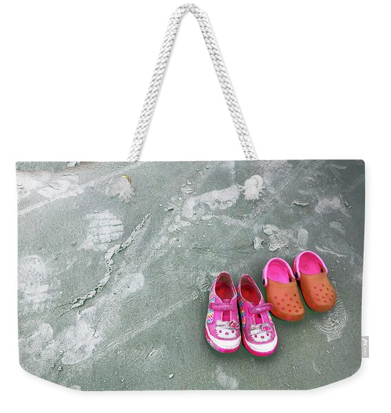 Sisters Playing Barefoot In The Sand Weekender Tote Bag