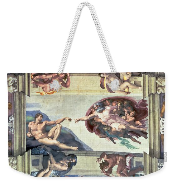 Sistine Chapel Ceiling Creation Of Adam Weekender Tote Bag