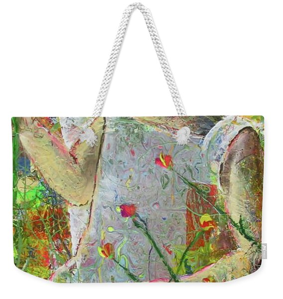 Weekender Tote Bag featuring the painting Sitting A Spell... by Jacqueline Athmann