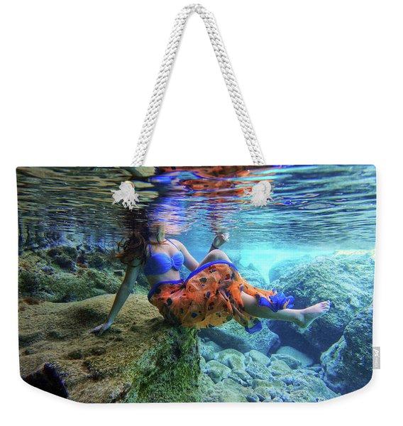 Sitting On The Rock Underwater Weekender Tote Bag