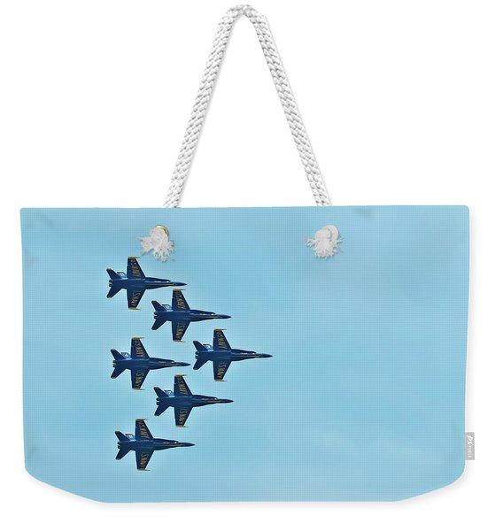 Six Blue Angels In The Clear Blue Sky Weekender Tote Bag