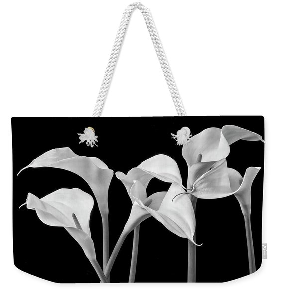 Six Calla Lilies In Black And White Weekender Tote Bag