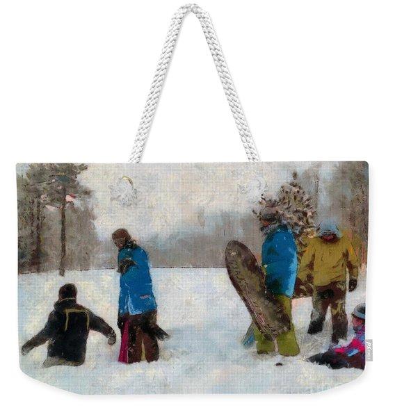 Six Sledders In The Snow Weekender Tote Bag