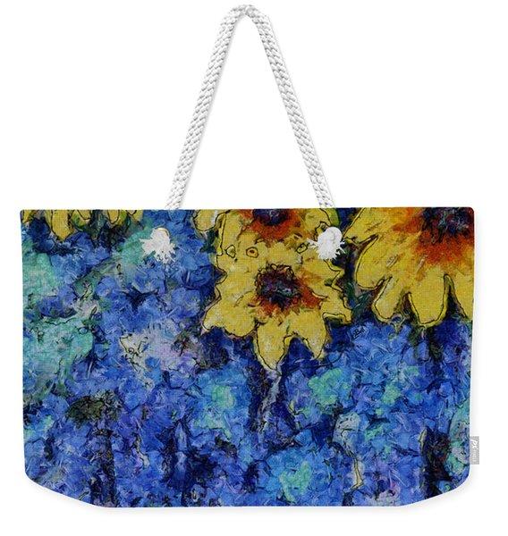 Six Sunflowers On Blue Weekender Tote Bag