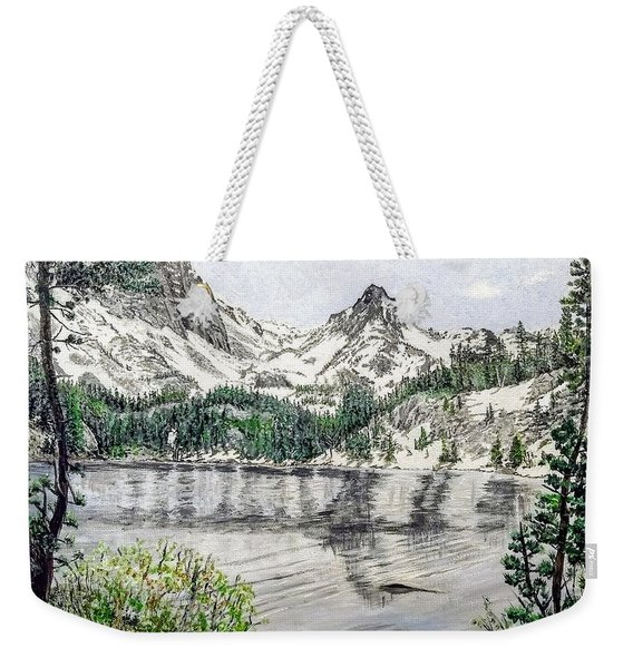Weekender Tote Bag featuring the painting Skelton Lake by Kevin Daly