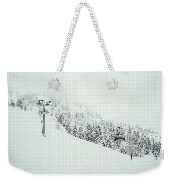 Ski Lift In The Snow Weekender Tote Bag