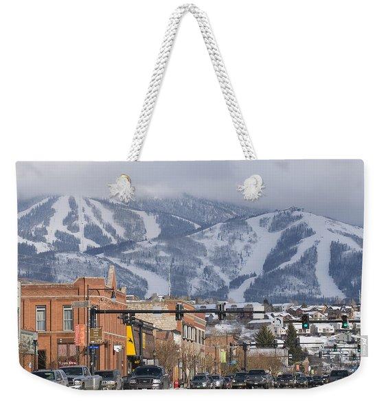 Ski Resort And Downtown Steamboat Weekender Tote Bag
