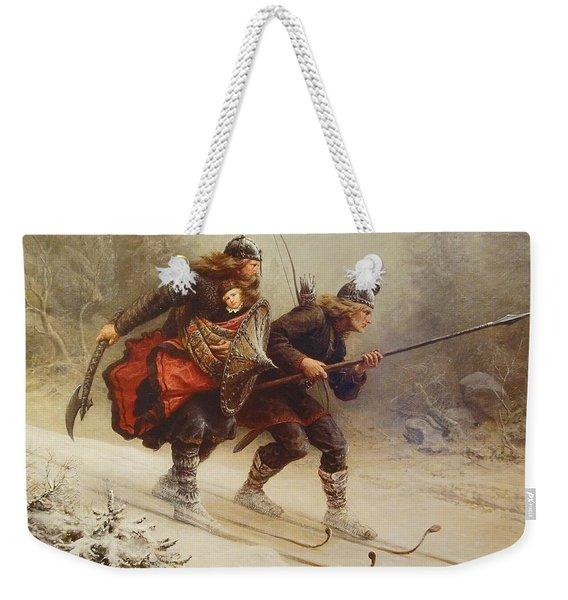 Skiing Birchlegs Crossing The Mountain With The Royal Child Weekender Tote Bag
