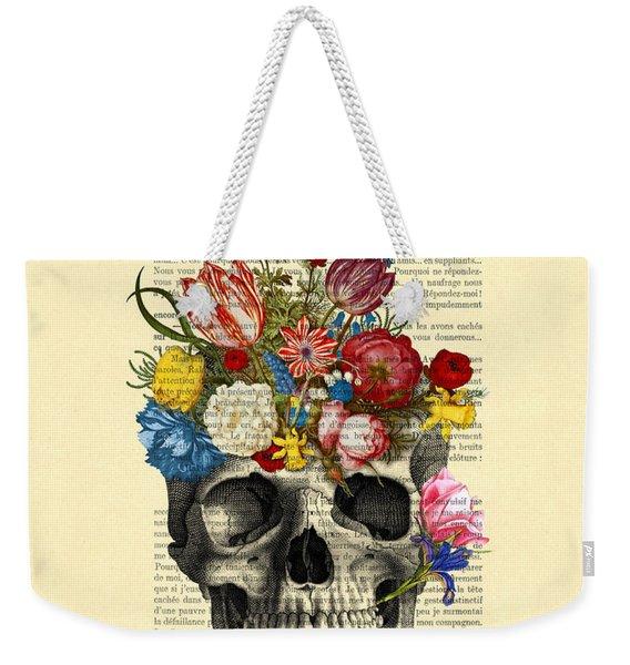 Skull With Flowers Vintage Illustration Weekender Tote Bag