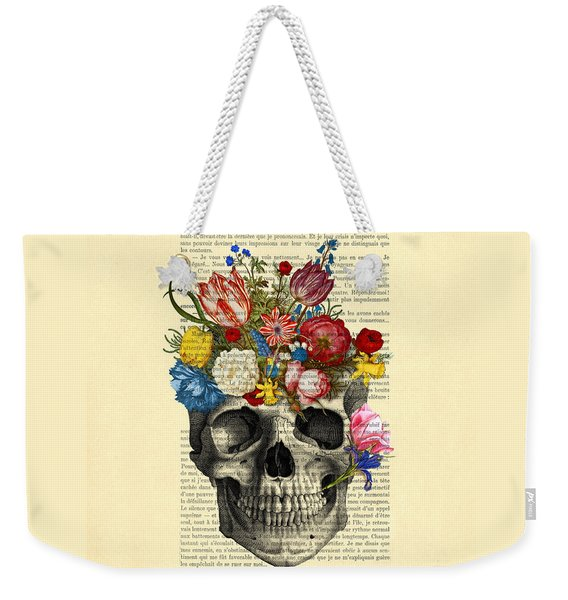 Skull With Flowers Vintage Illustration Weekender Tote Bag